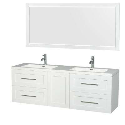 Olivia 72 in. W x 19 in. D Vanity in Glossy White with Acrylic Vanity Top in White with White Basins and 70 in. Mirror