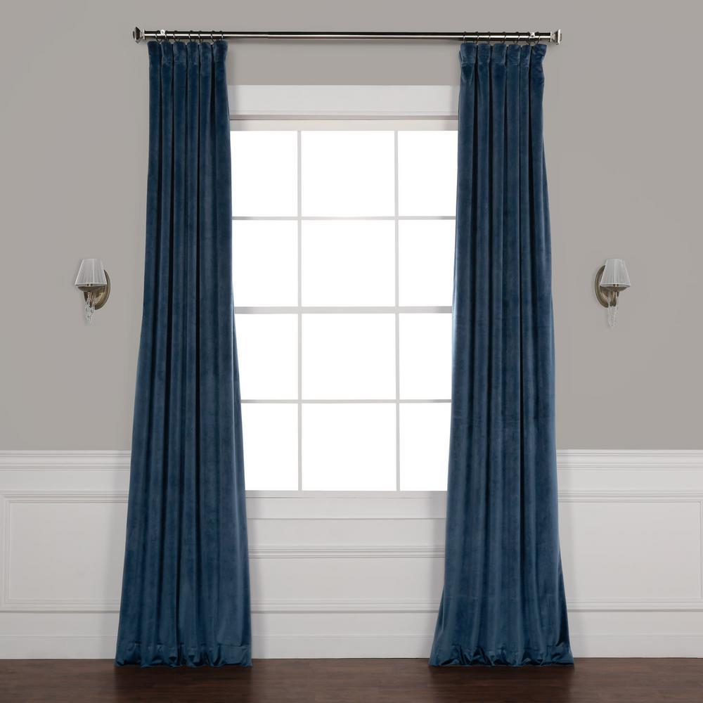 Avalon Blue Plush Velvet Curtain - 50 in. W x 96 in. L