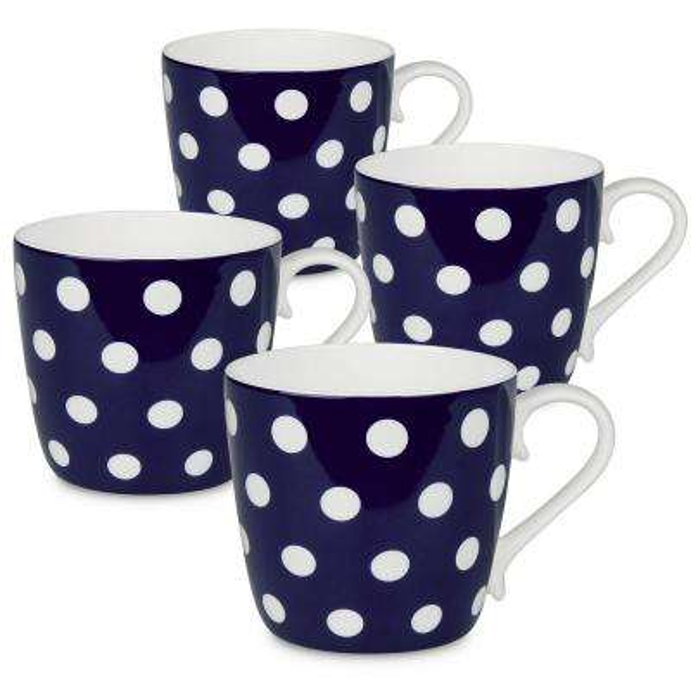 Konitz 4-Piece Polka Dots Dark Blue Bone China Mug Set