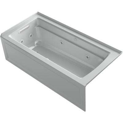 Archer 66 in. Left-Hand Drain Rectangular Alcove Whirlpool and Air Bath Bathtub in Ice Grey