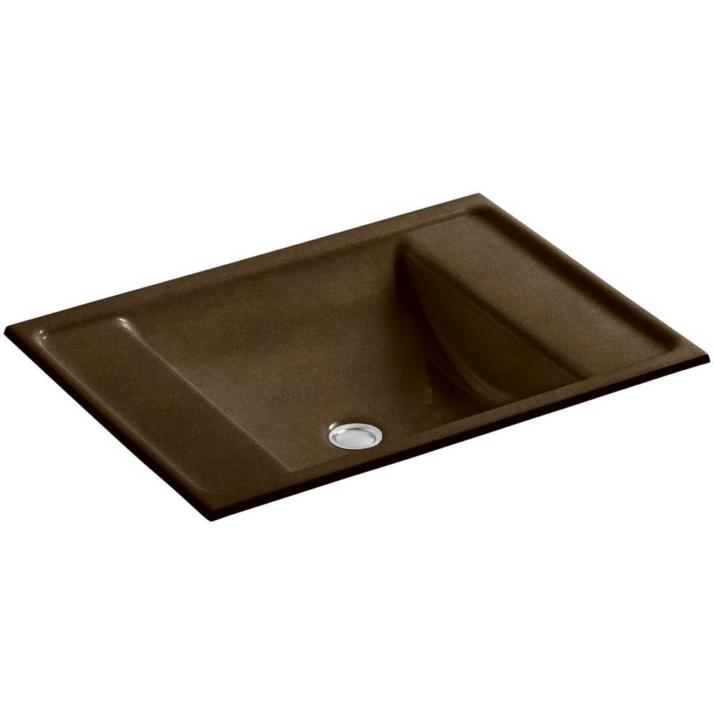 Ledges Undermount Cast Iron Bathroom Sink in Black 'n Tan with