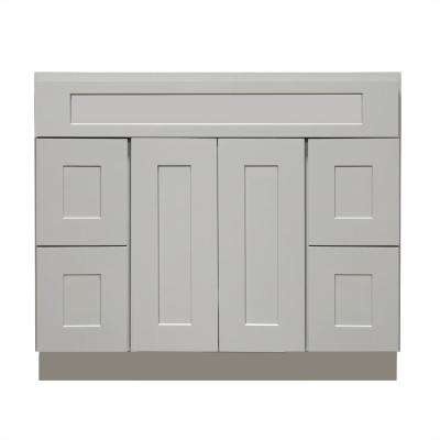Ready to Assemble Shaker 60 in. W x 21 in. D x 34.5 in. H Vanity Cabinet with 2 Doors and 4 Drawers in Gray