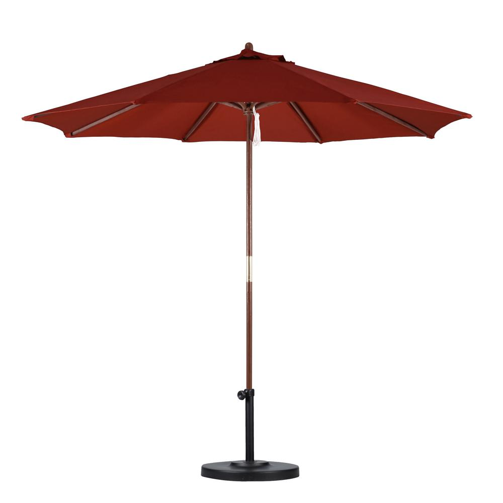 Hampton bay 9 ft wood patio umbrella in brown 9939 for Balcony umbrella