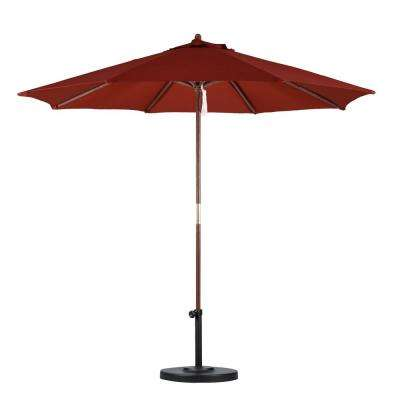 9 ft. Wood Pulley Open Patio Umbrella in Brick Polyester