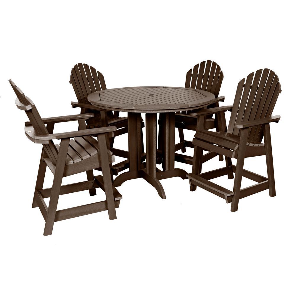 Muskoka Weathered Acorn 5-Piece Plastic Round Counter Height Outdoor Dining Set