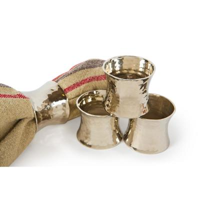 Taper Hammered Silver Brass Metal Napkin Rings (Set of 4)