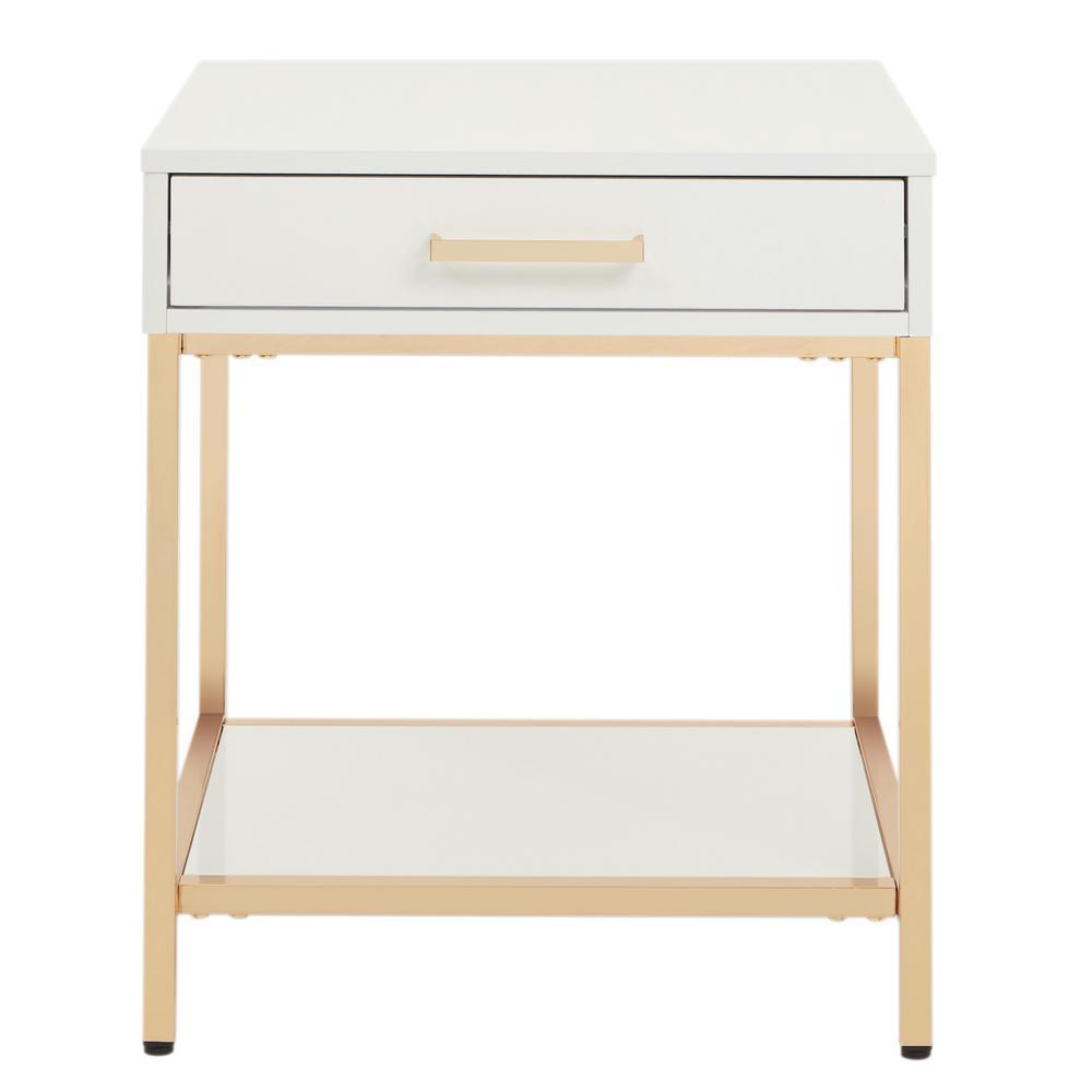 Alios White/Gold Chrome End Table