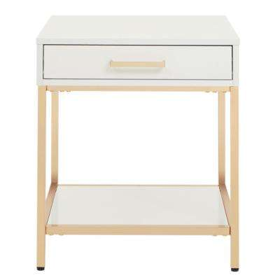 Alios White/Gold Chrome End Table