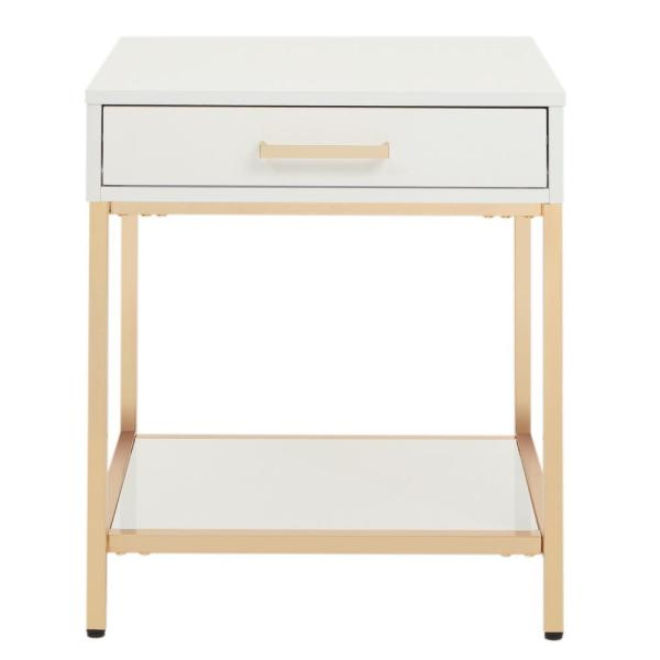 OSP Home Furnishings Alios White/Gold Chrome End Table ALS09-WH