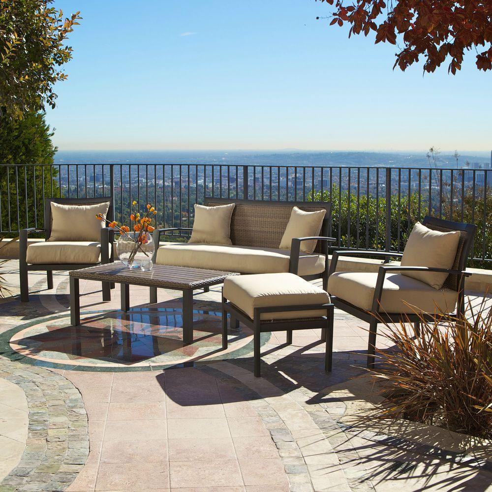 RST Brands Zen 5-Piece Patio Seating Set with Spectrum Sand Cushions