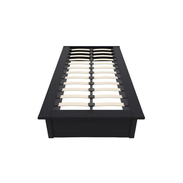DHP Kristian Black Twin Size Upholstered Faux Leather Platform Bed