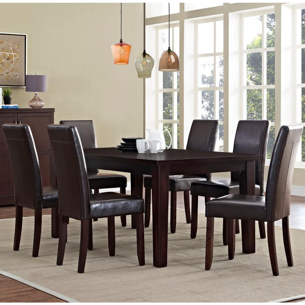 Captivating Simpli Home Acadian 7 Piece Tanners Brown Dining Set