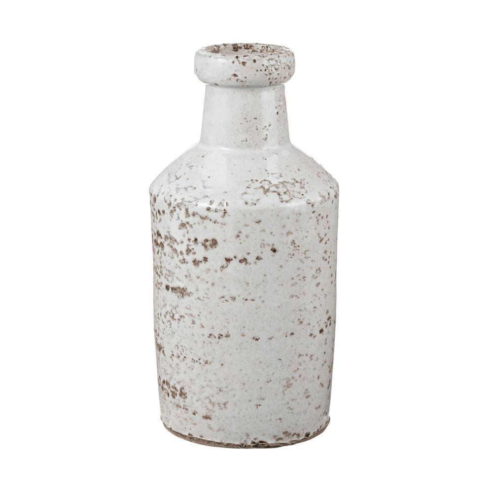 4 in. x 8 in. Rustic White Earthenware Decorative Milk Bottle