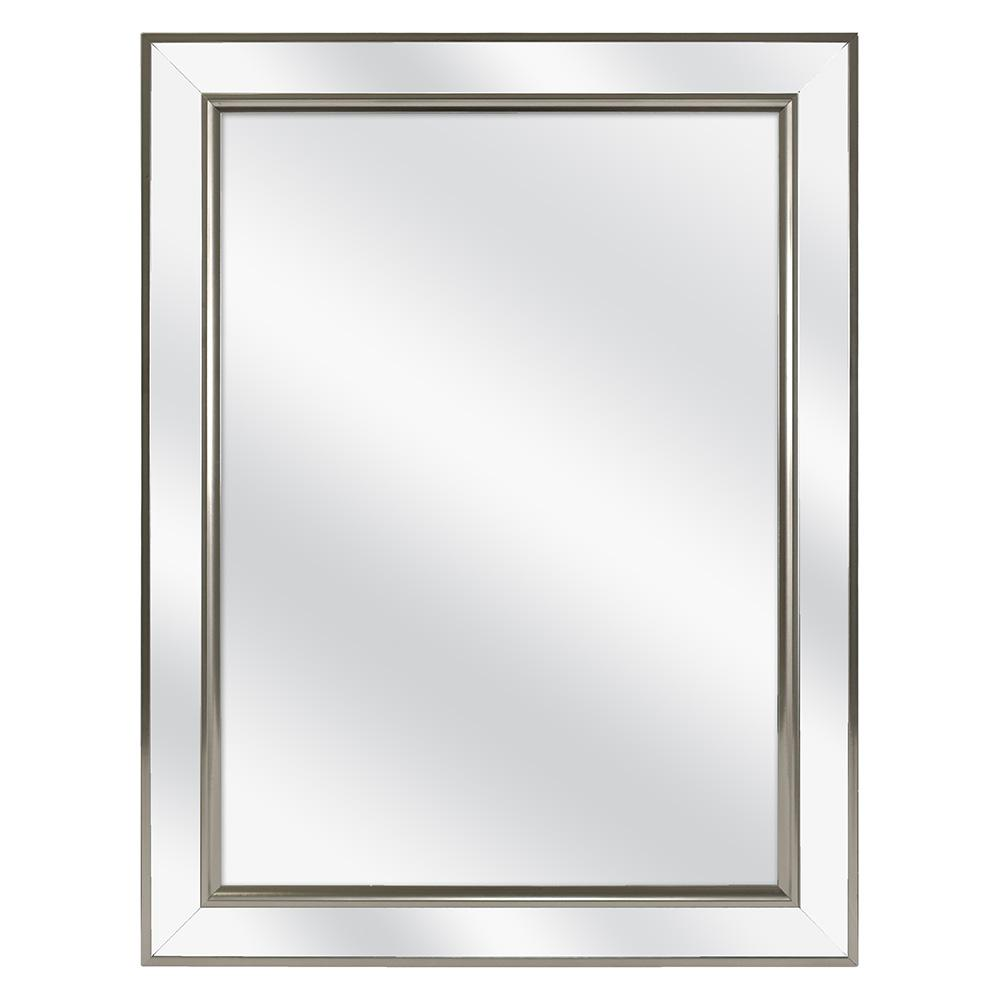 Home Decorators Collection 20-1/8 in. W x 26 in. H Fog Free Framed Recessed or Surface-Mount Mirror Bathroom Medicine Cabinet in Brushed Nickel