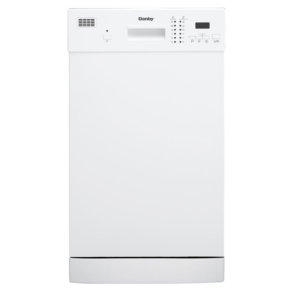 Danby 18 in. Front Control Dishwasher in White With Stainless Steel Tub, 52 dBA