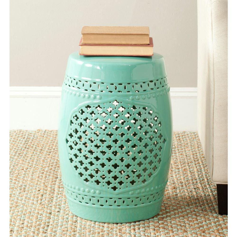 Quatrefoil Light Blue Ceramic Patio Stool