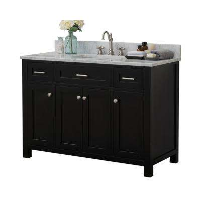 Redmond 48 in. W x 34.2 in. H Bath Vanity in Espresso with Marble Vanity Top in White with White Basin