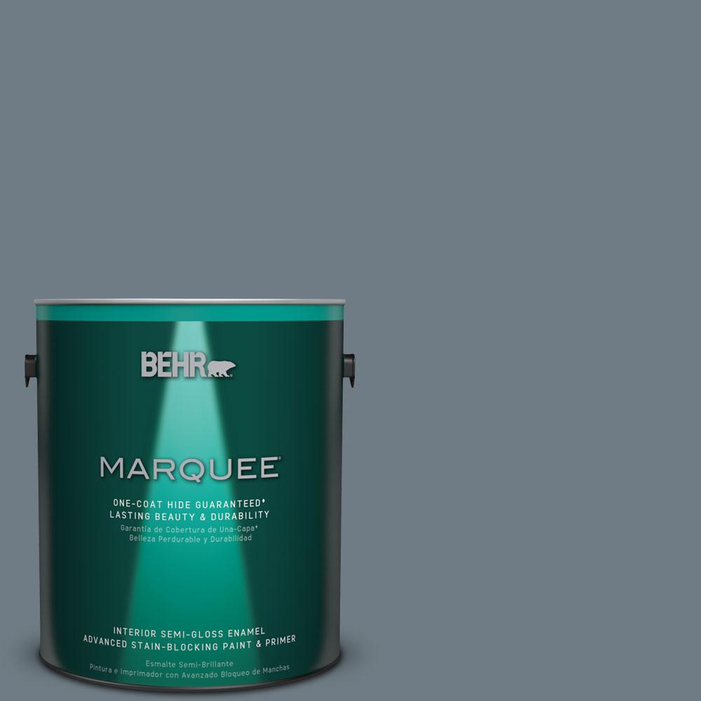 1 gal. #N490-5 Charcoal Blue One-Coat Hide Semi-Gloss Enamel Interior Paint