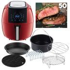 5.8 Qt. 8-in-1 Chili Red Air Fryer with 6-Piece Accessory Set and 50-Recipes Book