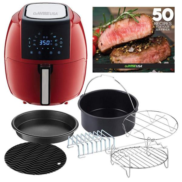 GoWISE USA 5.8 Qt. 8-in-1 Chili Red Air Fryer with 6-Piece