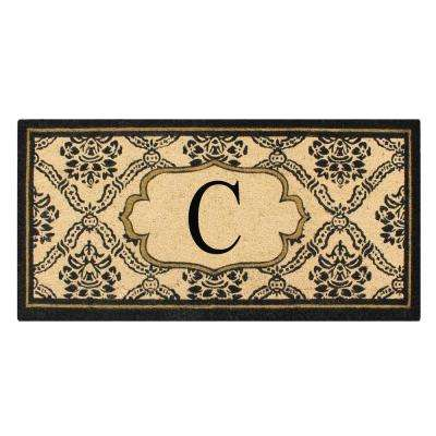 A1HC First Impression Uriel Treated 24 in. x 57 in. Coir Monogrammed C Door Mat