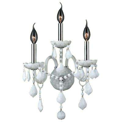 Provence Collection 3-Light Chrome White Crystal Sconce
