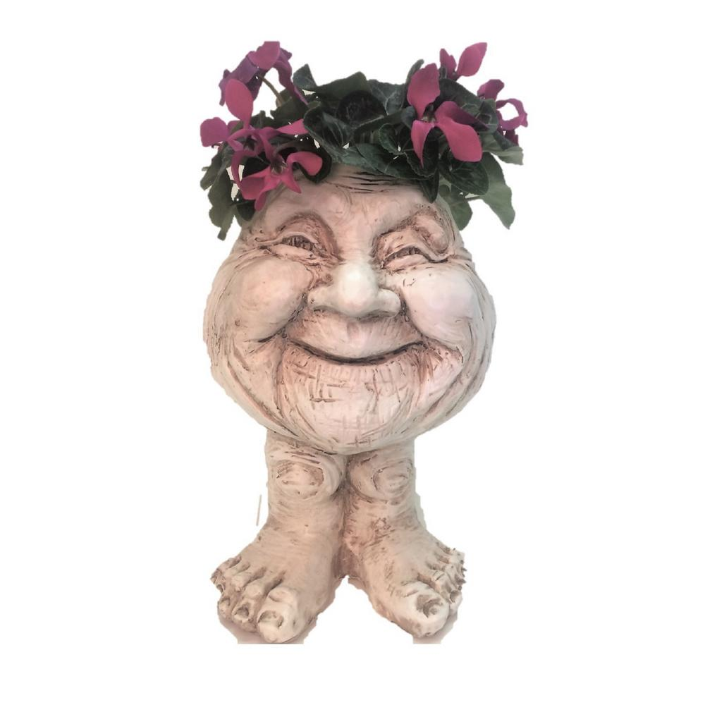 12 in. Antique White Granny Joy the Muggly Statue Face Planter