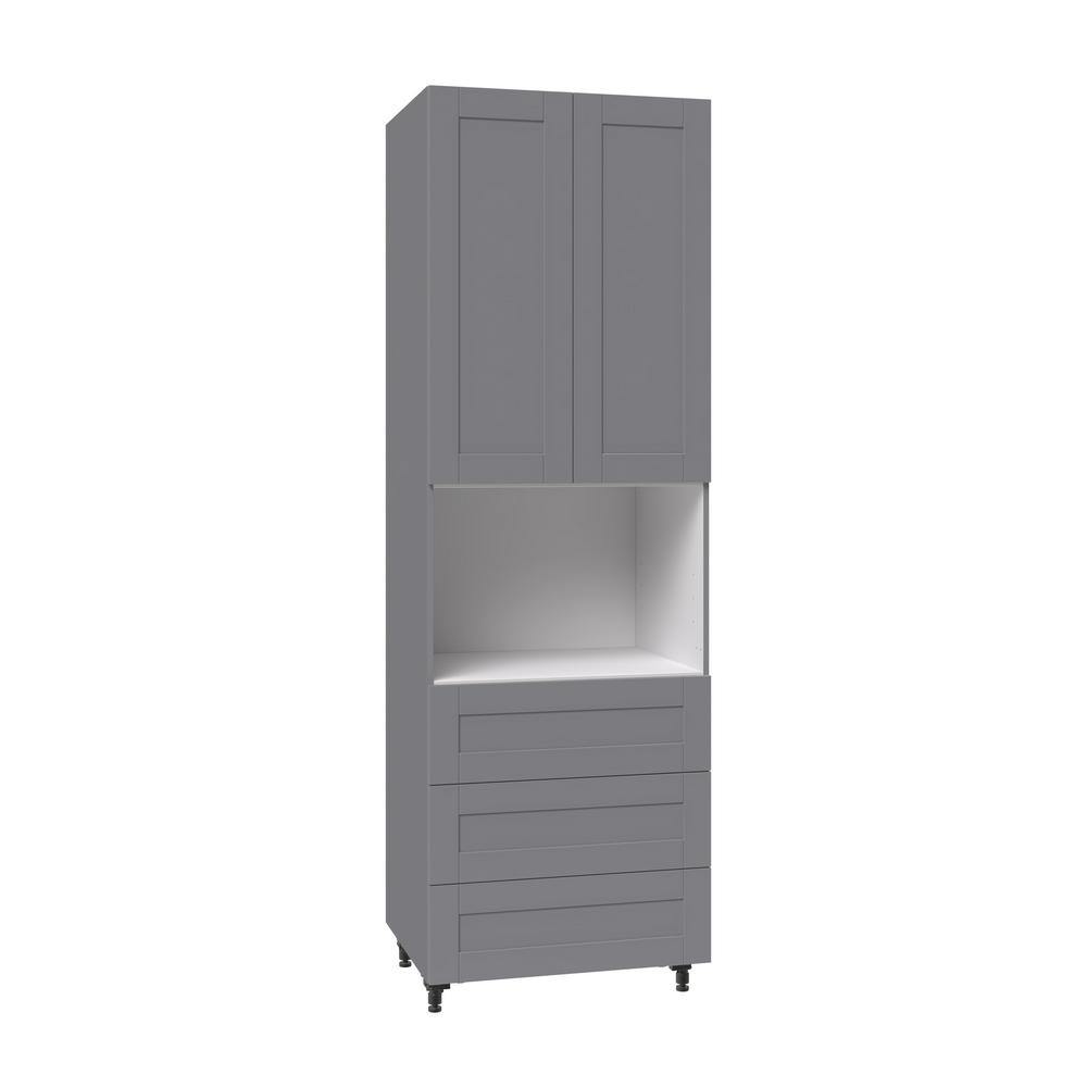 Cool J Collection Shaker Assembled 30 In X 94 5 In X 24 In Pantry Universal Microwave Cabinet With Three 10 In Drawers In Gray Download Free Architecture Designs Rallybritishbridgeorg