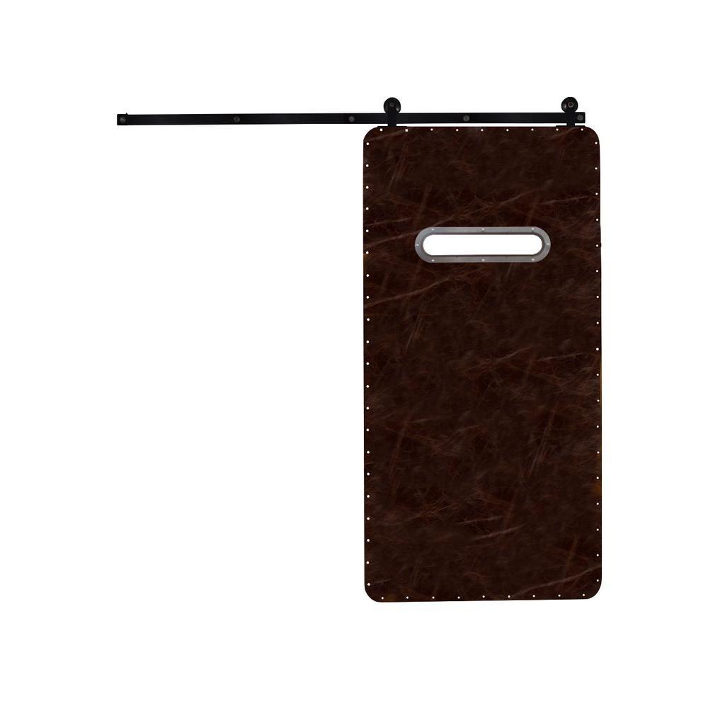 Rustica Hardware 42 in. x 84 in. Modern Range Dark Brown Wood Barn Door with Top Mount Modern Sliding Door Hardware Kit