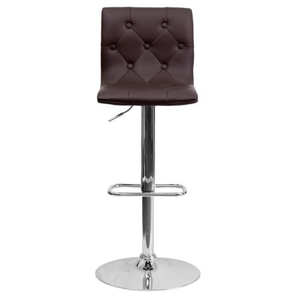 Flash Furniture 32.25 in. Adjustable Height Brown Cushioned Bar Stool