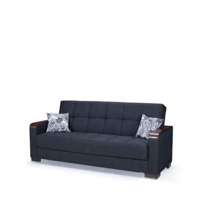 Armada 88 in. Dark Blue Chenille 3-Seater Full Sleeper Convertible Sofa Bed with Storage