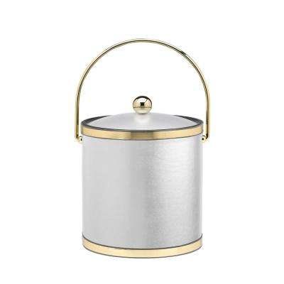 Sophisticates 3 Qt. White and Polished Brass Ice Bucket with Bale Handle and Acrylic Cover