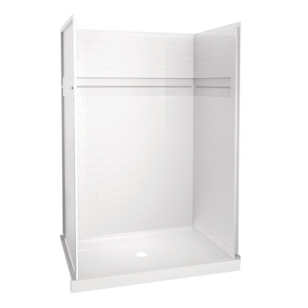 UPstile 34 in. x 48 in. x 74 in. Shower Kit in White