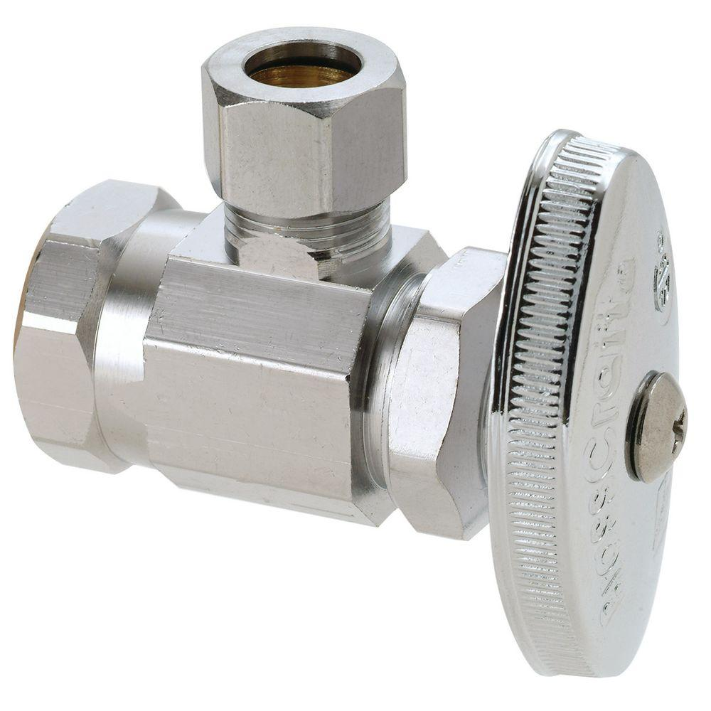 BrassCraft 3/8 in. FIP Inlet x 1/2 in. O.D. Compression Outlet Brass Multi-Turn Angle Valve (5-Pack)