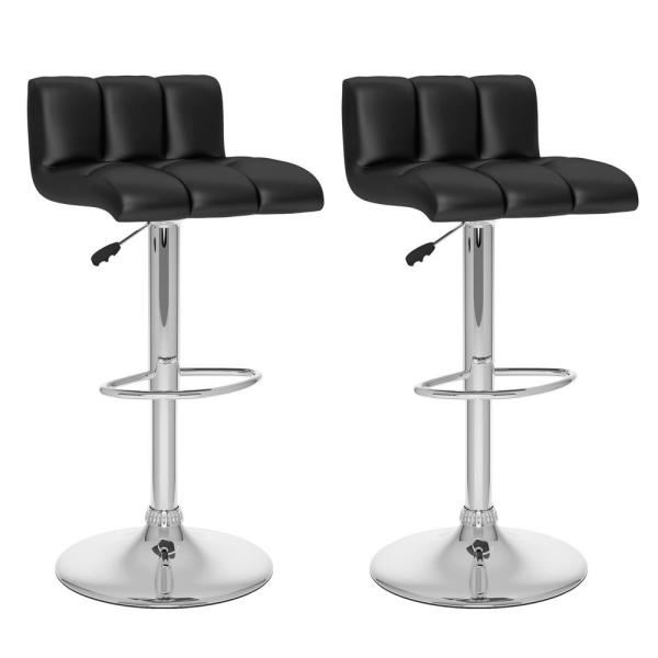 CorLiving Adjustable Black Leatherette Low Back Bar Stool (Set of 2)