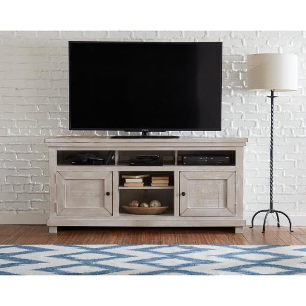 Willow 64 in. Gray Chalk Wood TV Stand Fits TVs Up to 64 in. with Storage Doors