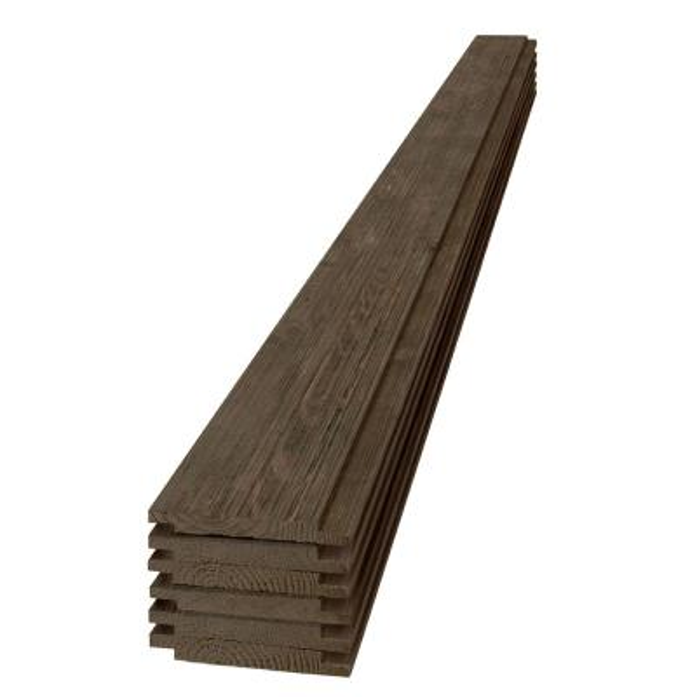 1 in. x 6 in. x 6 ft. Barn Wood Dark Brown Shiplap Pine Board (6-Pack)