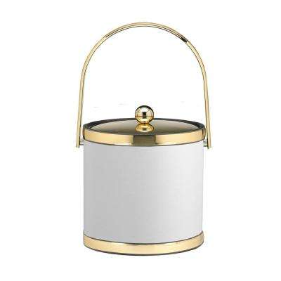 Sophisticates 3 Qt. White and Polished Brass Ice Bucket with Track Handle and Metal Cover