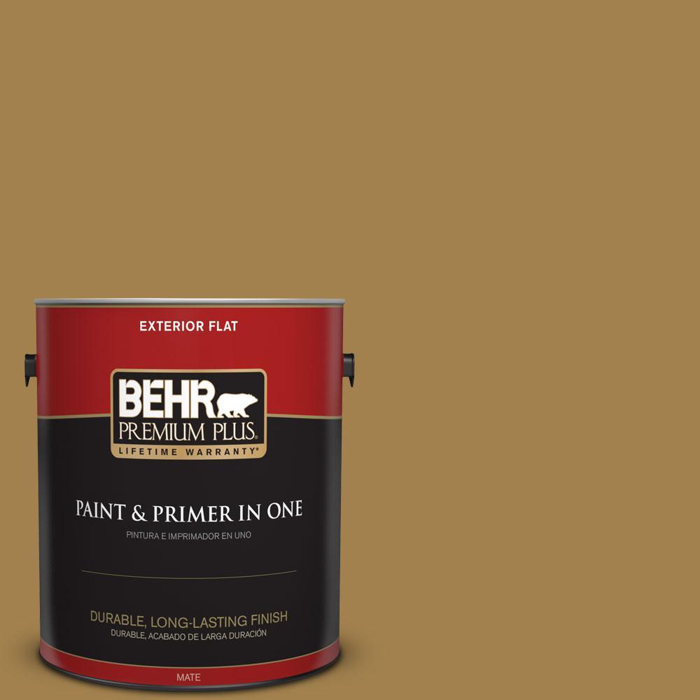 BEHR Premium Plus 1-gal. #340F-7 Woven Basket Flat Exterior Paint