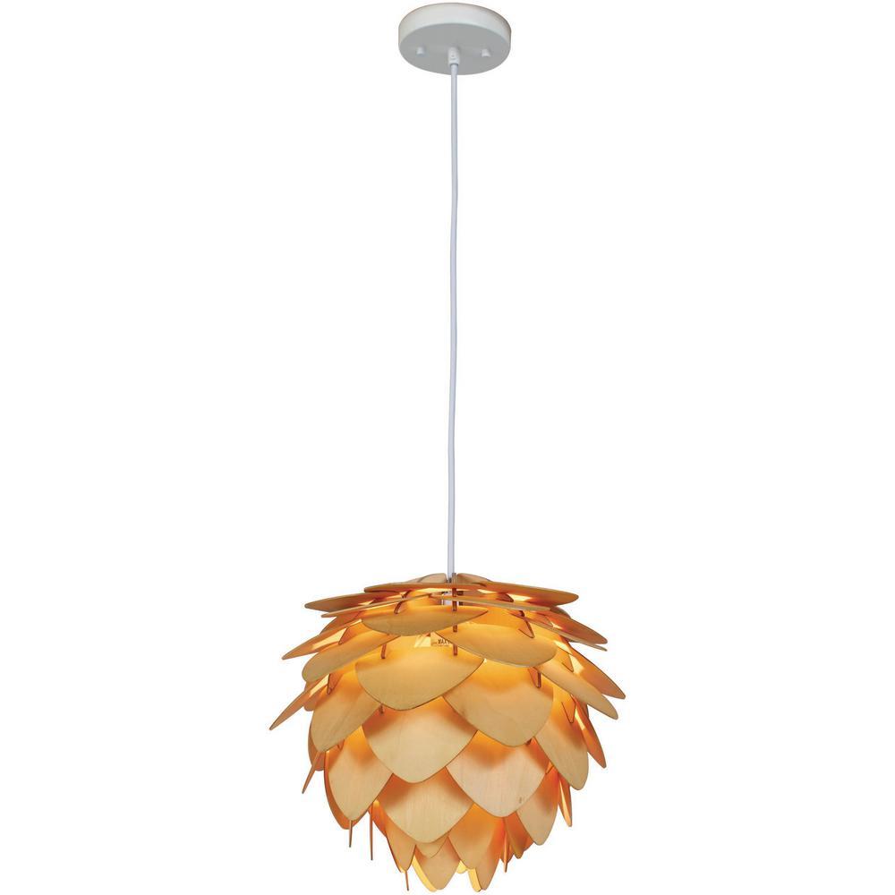 Kaliko 1-Light Kula Wood Hanging Pendant