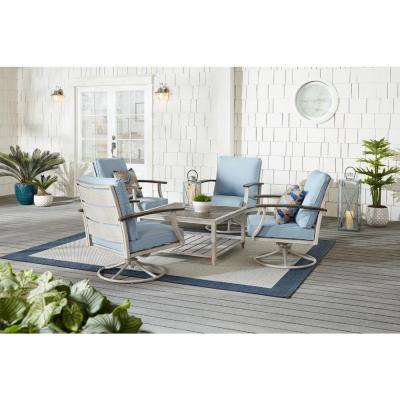 Marina Point 5-Piece White Steel Motion Outdoor Conversation Seating Set with CushionGuard Surf Blue Cushions