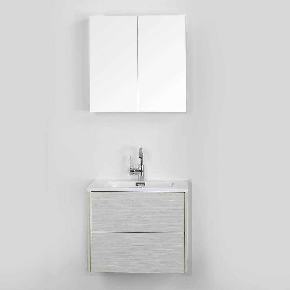 Streamline 23.6 in. W x 19.3 in. H Bath Vanity in Gray with Resin Vanity Top in White with White Basin and Mirror