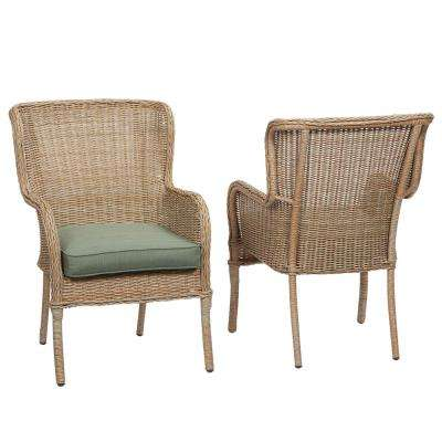 Lemon Grove Stationary Wicker Outdoor Dining Chair With Surplus Cushion  (2 Pack)