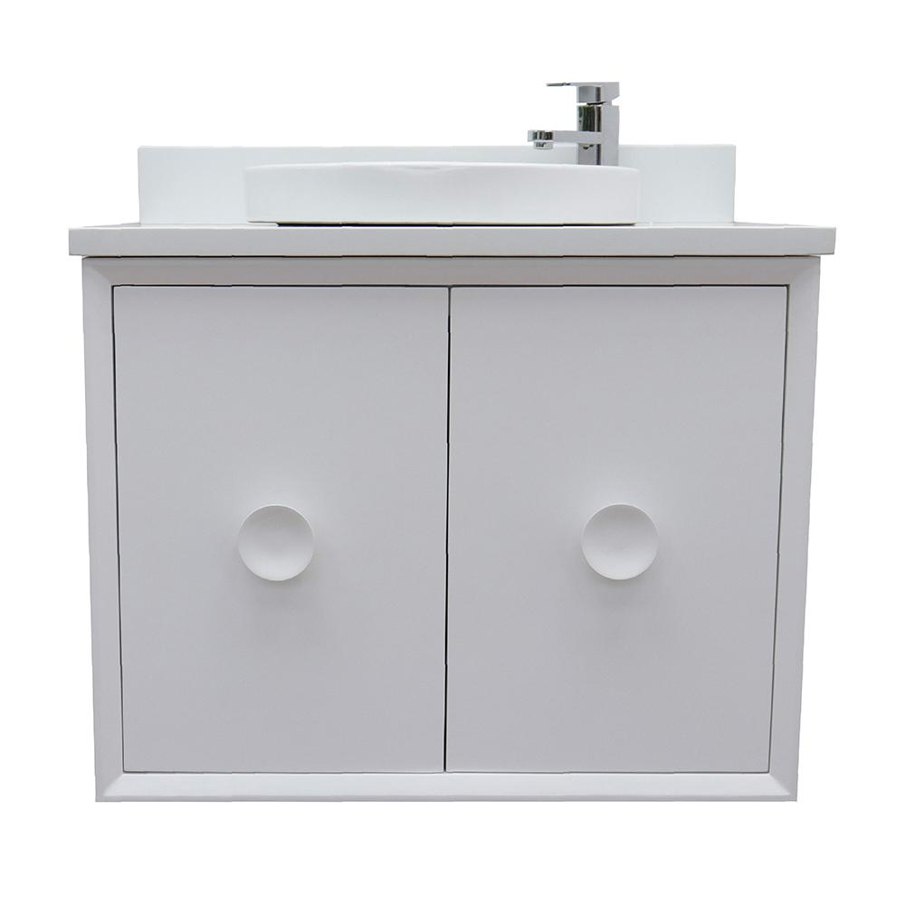 Bellaterra Home Stora 31 in. W x 22 in. D Wall Mount Bath Vanity in White with Quartz Vanity Top in White with White Round Basin