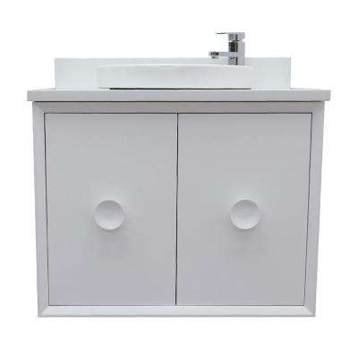 Stora 31 in. W x 22 in. D Wall Mount Bath Vanity in White with Quartz Vanity Top in White with White Round Basin