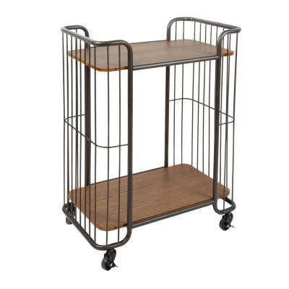 Bowlin Industrial 2 Tier Caged Gunmetal Gray Serving Cart