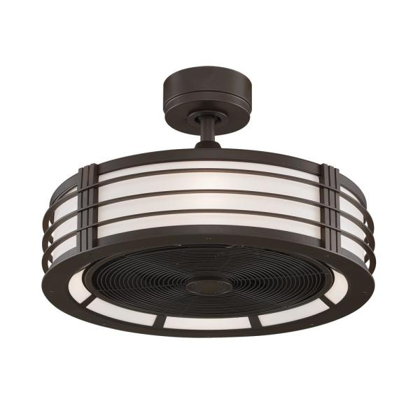 Beckwith 23 in. Oil-Rubbed Bronze Ceiling Fan with LED Light Kit and Frosted White Shade and Remote