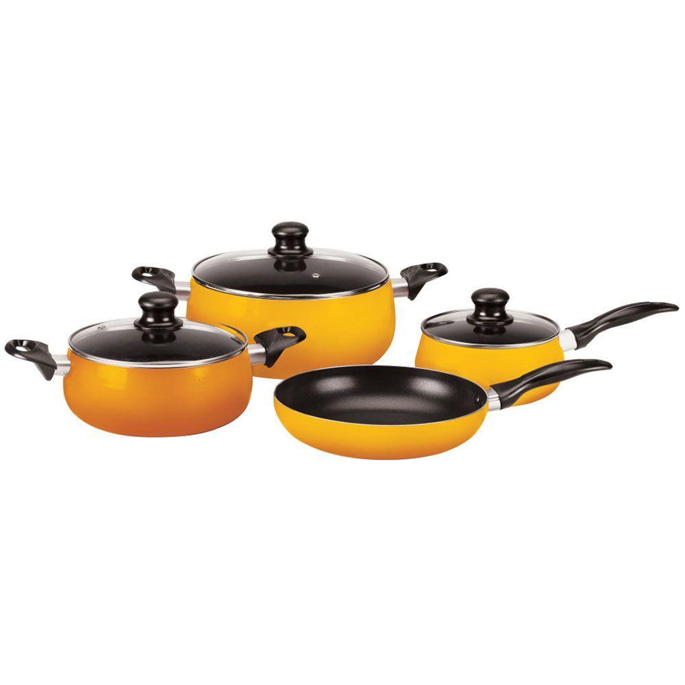 Vinaroz Venice 7-Piece Aluminum Cookware Set in Orange-DISCONTINUED