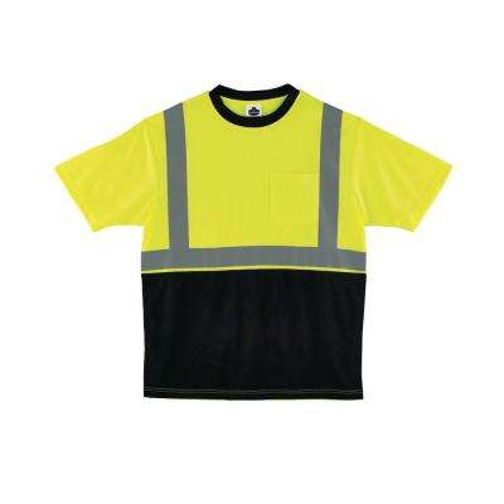 XL Hi Vis Lime Black Front T-Shirt