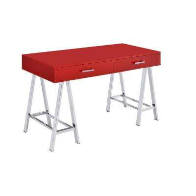 Coleen Red and Chrome Writing Desk with Storage